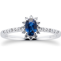 Sapphire and 0.12ct Diamond Ring in 9ct White Gold - Ring Size P