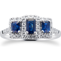 Sapphire and Diamond Three Stone Ring in 9ct White Gold - Ring Size L