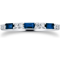 9ct White Gold Baguette Cut Sapphire and Diamond Eternity Ring - Ring Size L