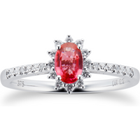 Ruby and 0.12ct Diamond Ring in 9ct White Gold - Ring Size M