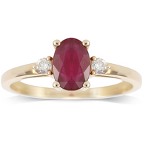 9ct Yellow Gold Ruby and Diamond 3 Stone Ring - Ring Size P