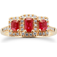 Ruby and Diamond Three Stone Ring in 9ct Yellow Gold - Ring Size O