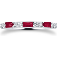 9ct White Gold Baguette Cut Ruby and Diamond Eternity Ring - Ring Size M