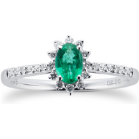 Emerald and 0.12ct Diamond Ring in 9ct White Gold - Ring Size M