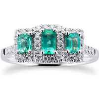 Emerald and Dimaond Three Stone Ring in 9ct White Gold - Ring Size P
