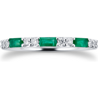 9ct White Gold Baguette Cut Emerald and Diamond Eternity Ring - Ring Size M
