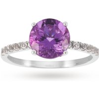 9ct White Gold 8x8mm Amethyst And 0.16ct White Topaz Ring - Ring Size K