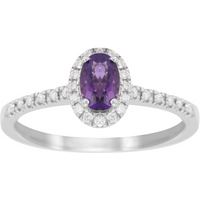 shop for 9ct White Gold Amethyst & 0.15ct Diamond Round Halo Ring - Ring Size M at Shopo