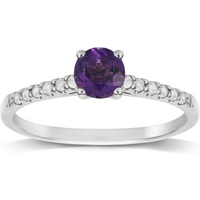 9ct White Gold Amethyst and Topaz Ring - Ring Size N