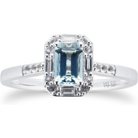 Aquamarine Topaz and 0.08ct Diamond Ring in 9ct White Gold - Ring Size K
