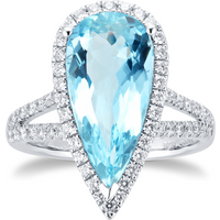 18ct White Gold Pear Cut Aquamarine and Diamond Ring