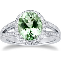 18ct White Gold Green Tourmaline and Diamond Ring