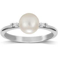 Image of 9ct White Gold Pearl & 0.022cttw Diamond Ring - Ring Size N