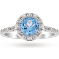 9ct White Gold 6x6mm Blue Topaz And Diamond Round Halo Ring - Ring Size O