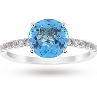 9ct White Gold 8x8mm Blue Topaz And 0.16ct White Topaz Ring - Ring Size N