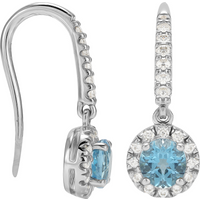 shop for 9ct White Gold Blue Topaz Halo Drop Earrings at Shopo