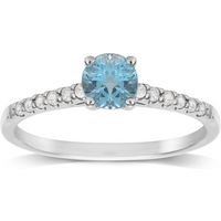 9ct White Gold White and Blue Topaz Ring - Ring Size K
