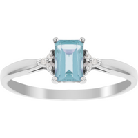 9ct White Gold Blue Topaz and Diamond Crown Ring - Ring Size M
