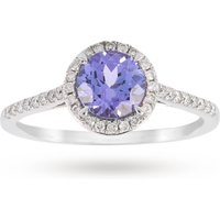 9ct White Gold 6mm Tanzanite And 0.15ct Diamond Round Halo Ring - Ring Size M