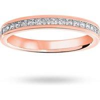 9 Carat Rose Gold 0.50 Carat Princess Cut Channel Set Half Eternity Ring