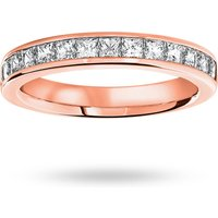 18 Carat Rose Gold 1.00 Carat Princess Cut Half Eternity Ring
