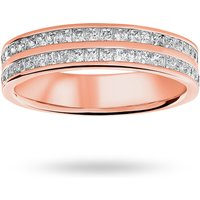 18 Carat Rose Gold 0.75 Carat Princess Cut 2 Row Half Eternity Ring