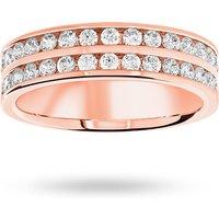 18 Carat Rose Gold 0.75 Carat Brilliant Cut 2 Row Half Eternity Ring