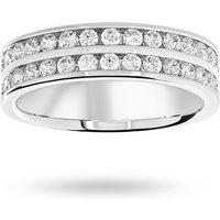 18 Carat White Gold 0.75 Carat Brilliant Cut 2 Row Half Eternity Ring