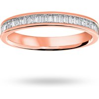18 Carat Rose Gold 0.33 Carat Baguette Cut Half Eternity Ring