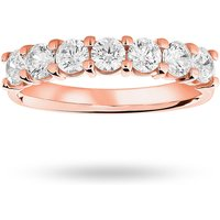 18 Carat Rose Gold 1.00 Carat Brilliant Cut Under Bezel Half Eternity Ring