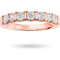 18 Carat Rose Gold 0.77 Carat Brilliant Cut Bar Half Eternity Ring