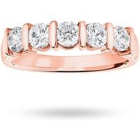 18 Carat Rose Gold 0.90 Carat Brilliant Cut Bar Half Eternity Ring