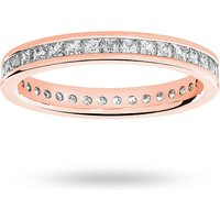 18 Carat Rose Gold 1.00 Carat Princess Cut Channel Set Full Eternity Ring