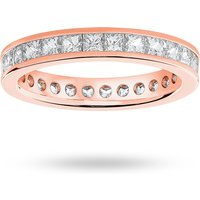 9 Carat Rose Gold 2.00 Carat Princess Cut Channel Set Full Eternity Ring
