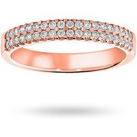 18 Carat Rose Gold 0.25 Carat Brilliant Cut 2 Row Claw Set Half Eternity Ring