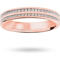 18 Carat Rose Gold 0.28 Carat Brilliant Cut 2 Row Channel Set Half Eternity Ring