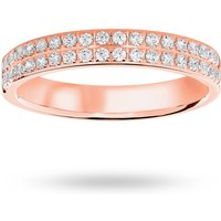 18 Carat Rose Gold 0.25 Carat Brilliant Cut 2 Row Claw Pave Half Eternity Ring