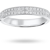 18 Carat White Gold 0.25 Carat Brilliant Cut 2 Row Claw Pave Half Eternity Ring