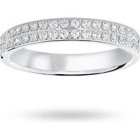 18 Carat White Gold 0.25 Carat Brilliant Cut 2 Row Claw Pave Half Eternity Ring