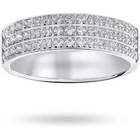 18 Carat White Gold 0.50 Carat Brilliant Cut 3 Row Claw Pave Half Eternity Ring