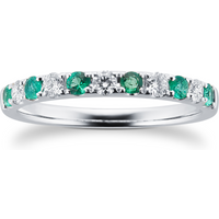 18ct White Gold 0.20ct Diamond and Emerald Eternity Rings -