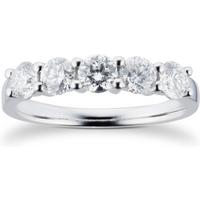 Platinum 1.00CT Brilliant Cut 88 Facet Diamond 5 Stone Cl ....