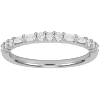 shop for 18ct White Gold 0.37ct Baguette & Round Eternity Rings - Ring Size N at Shopo