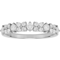 9ct White Gold 0.75ct Diamond Flower Fancy Eternity Ring - Ring Size O