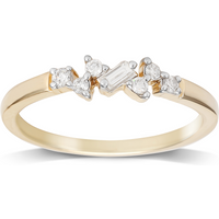 9ct Yellow Gold Claw Set 0.15cttw Scatter Ring - Ring Size P