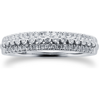 9ct White Gold 0.34ct 3 Row Eternity Ring - Ring Size O
