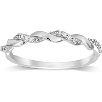 9ct White Gold 0.05ct Twist Style Diamond Ring - Ring Size L