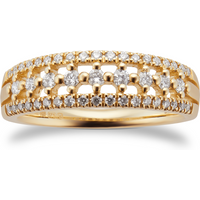 9ct Yellow Gold 0.33ct Multi Row Eternity Ring - Ring Size Q