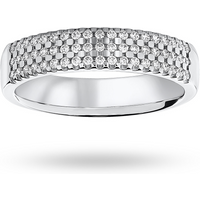 shop for 18ct White Gold 0.29ct 3 Row Half Eternity Ring - Ring Size J at Shopo
