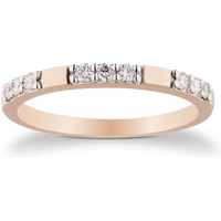 9ct Rose Gold 0.20cttw Station Claw Set Ring - Ring Size P